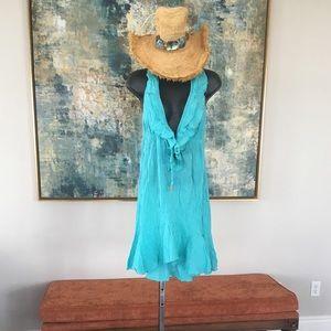 Elan Gauze Ruffle Halter Cover Up Dress